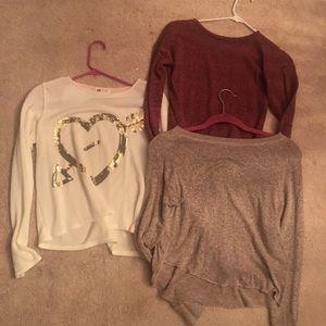 3 girls knit shirts